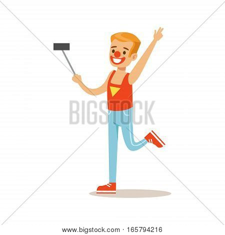Boy In Clown Costume Taking Selfie With Selfie Stick, Children In Costume Party Illustration With Happy Smiling Kid At Festival Celebration. Smiling Cartoon Vector Character Having Fun And Dressing Up.