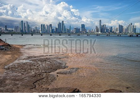 the city of Panama seen from sea level from Casco Viejo