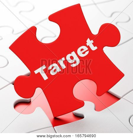Business concept: Target on Red puzzle pieces background, 3D rendering