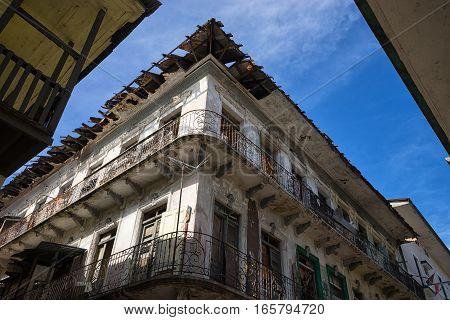 colonial ruin details in Casco Viejo Panama