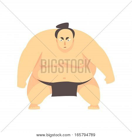 Japanese Fat Sumo Martial Arts Fighter, Fighting Sports Professional In Traditional Fighting Sportive Clothing. Fun Geometric Cartoon Character Doing Fighting Element In Special Outfit.