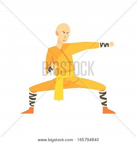 Bold Asian Shaolin Monk Kung Fu Martial Arts Fighter, Fighting Sports Professional In Traditional Fighting Sportive Clothing. Fun Geometric Cartoon Character Doing Fighting Element In Special Outfit.