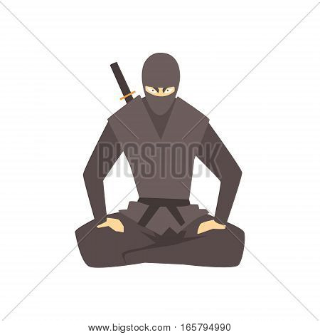 Ninja Wearing Full Black Covering Clothes Martial Arts Fighter, Fighting Sports Professional In Traditional Fighting Sportive Clothing. Fun Geometric Cartoon Character Doing Fighting Element In Special Outfit.