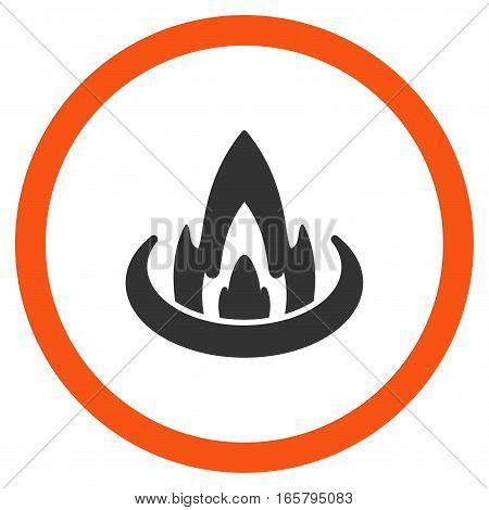 Fire Location vector bicolor rounded icon. Image style is a flat icon symbol inside a circle, orange and gray colors, white background.