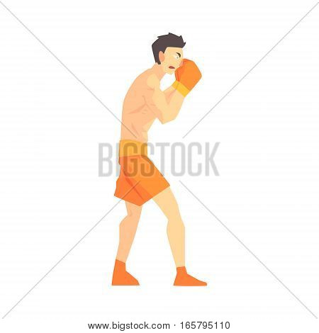 Skinni Man Boxing Martial Arts Fighter, Fighting Sports Professional In Traditional Fighting Sportive Clothing. Fun Geometric Cartoon Character Doing Fighting Element In Special Outfit.