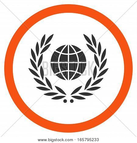 Global Emblem vector bicolor rounded icon. Image style is a flat icon symbol inside a circle, orange and gray colors, white background.