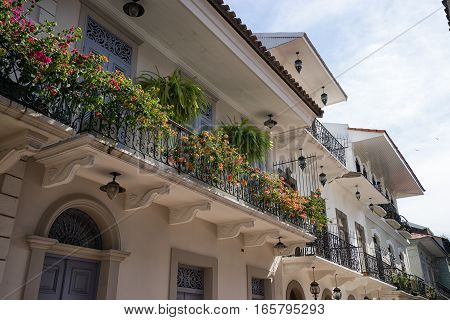 June 15, 2016 Panama City, Panama: closeup of a newly renovated historical building in the Casco Viejo area of the capital city