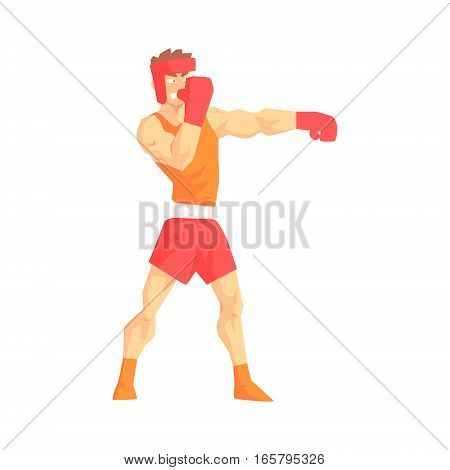 Man In Boxing Gloves And Helmet Box Martial Arts Fighter, Fighting Sports Professional In Traditional Fighting Sportive Clothing. Fun Geometric Cartoon Character Doing Fighting Element In Special Outfit.