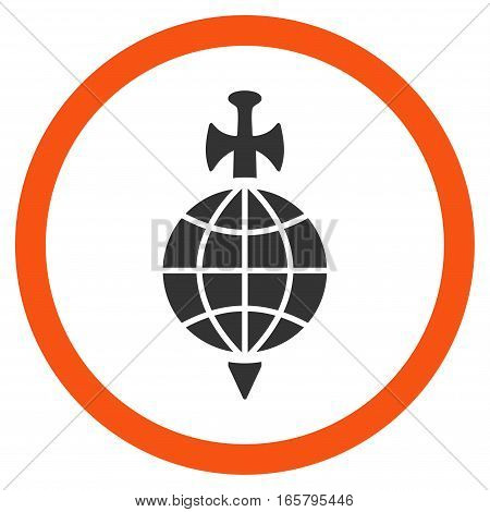 Global Guard vector bicolor rounded icon. Image style is a flat icon symbol inside a circle, orange and gray colors, white background.