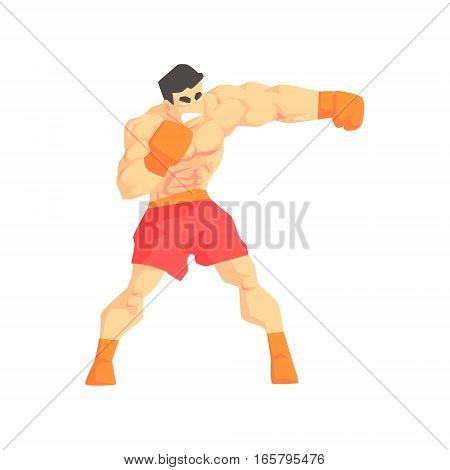 Muscly Man Boxing Martial Arts Fighter, Fighting Sports Professional In Traditional Fighting Sportive Clothing. Fun Geometric Cartoon Character Doing Fighting Element In Special Outfit.
