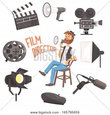 Film Director Sitting With Megaphone Controlling Movie Shooting Process Surrounded By Moviemaking Set Of Objects. Cartoon Vector Illustration With Hollywood Movie Maker Guiding The Shoot.