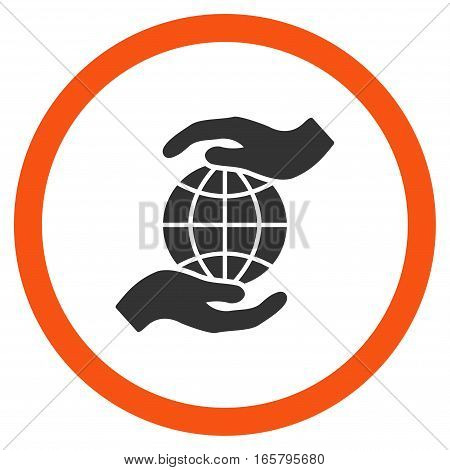 Global Insurance vector bicolor rounded icon. Image style is a flat icon symbol inside a circle, orange and gray colors, white background.