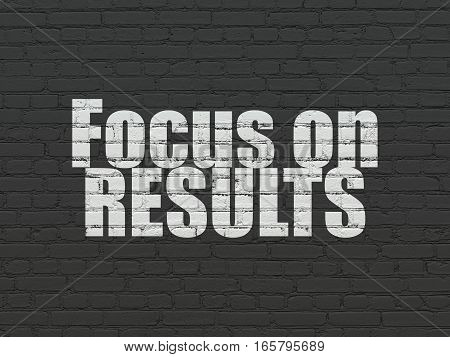 Finance concept: Painted white text Focus on RESULTS on Black Brick wall background