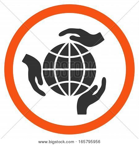 Global Protection vector bicolor rounded icon. Image style is a flat icon symbol inside a circle, orange and gray colors, white background.