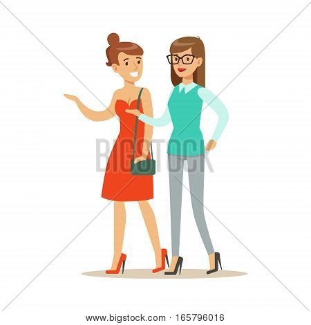 Happy Best Friends Having Good Time Together Chatting And Walking, Part Of Friendship Illustration Series. Smiling Cartoon Vector Characters Spending Time With Their Buddies And Mates.