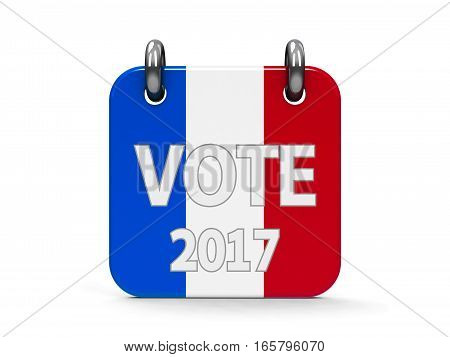 Vote election 2017 calendar icon as french flag - represents the Election Day 2017 in France three-dimensional rendering 3D illustration