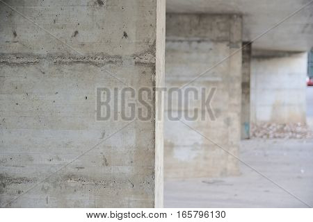Concrete walls perspective background. Vanishing point and empty copy space for Editor's text.