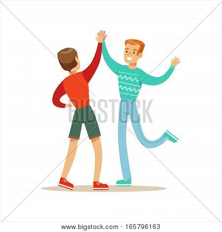Happy Best Friends Giving Each Other High Five, Part Of Friendship Illustration Series. Smiling Cartoon Vector Characters Spending Time With Their Buddies And Mates.