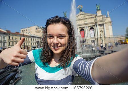Self-portrait Girl Showing Thumb Up