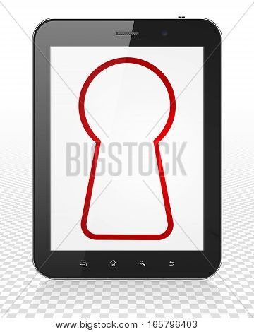 Protection concept: Tablet Pc Computer with red Keyhole icon on display, 3D rendering