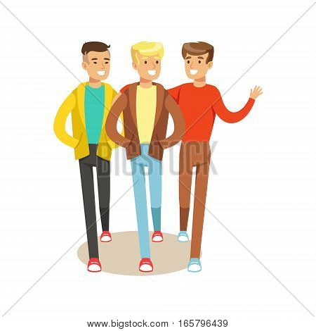 Three Happy Best Friends Going Out , Part Of Friendship Illustration Series. Smiling Cartoon Vector Characters Spending Time With Their Buddies And Mates.