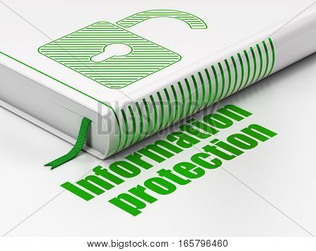Privacy concept: closed book with Green Opened Padlock icon and text Information Protection on floor, white background, 3D rendering
