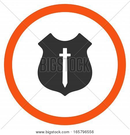 Guard Shield vector bicolor rounded icon. Image style is a flat icon symbol inside a circle, orange and gray colors, white background.