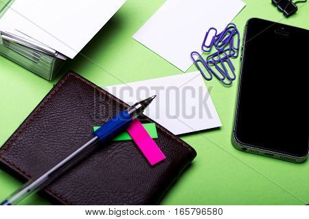 Stationery For Office: Clips, Blanks, Cell Phone, Wallet, Pen, Stickers