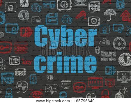 Security concept: Painted blue text Cyber Crime on Black Brick wall background with  Hand Drawn Security Icons