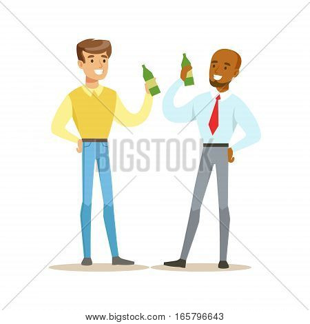 Happy Best Friends Having A Beer After Work, Part Of Friendship Illustration Series. Smiling Cartoon Vector Characters Spending Time With Their Buddies And Mates.
