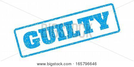 Blue rubber seal stamp with Guilty text. Vector tag inside rounded rectangular frame. Grunge design and dust texture for watermark labels. Inclined sign on a white background.