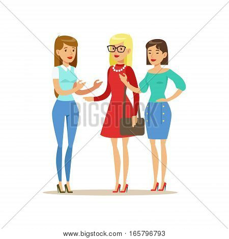 Happy Three Girls Best Friends Talking, Part Of Friendship Illustration Series. Smiling Cartoon Vector Characters Spending Time With Their Buddies And Mates.