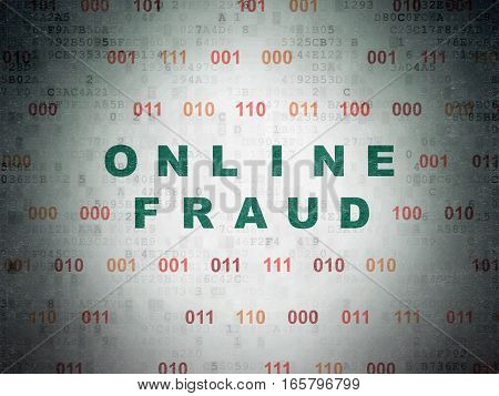 Protection concept: Painted green text Online Fraud on Digital Data Paper background with Binary Code