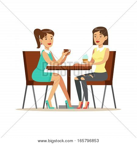 Happy Best Friends Drinking Coffee In Cafe, Part Of Friendship Illustration Series. Smiling Cartoon Vector Characters Spending Time With Their Buddies And Mates.