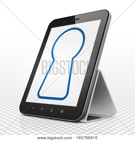 Privacy concept: Tablet Computer with blue Keyhole icon on display, 3D rendering