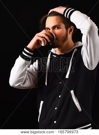 Bearded Guy In Baseball Jacket