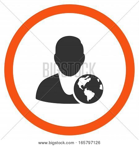 International Manager vector bicolor rounded icon. Image style is a flat icon symbol inside a circle, orange and gray colors, white background.