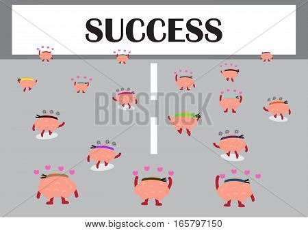 brains cartoon character vector illustration walk on the road to success board (conceptual image about person works for his or her dream to reach an achievement)