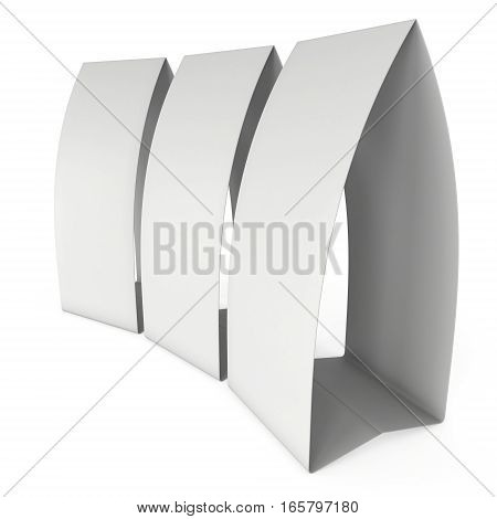 Three blank paper tent cards. 3d render illustration isolated. Table cards mock up on white background.