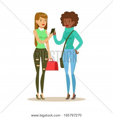 Happy Best Friends Looking At Smartphone , Part Of Friendship Illustration Series. Smiling Cartoon Vector Characters Spending Time With Their Buddies And Mates.