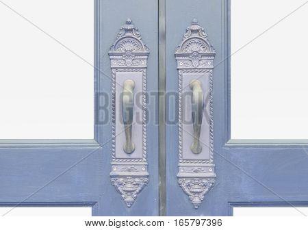 Classic and Antique door handle with wood door
