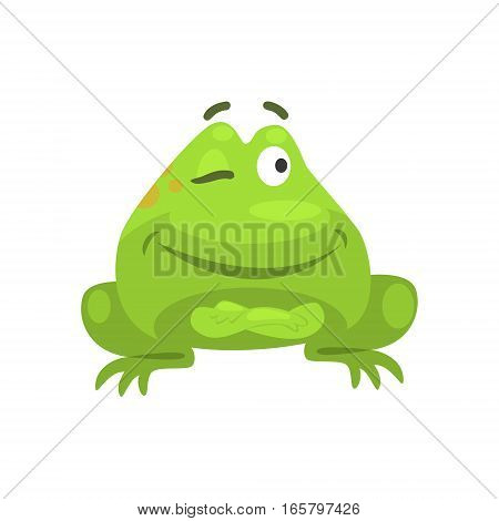 Smug Winking Green Frog Funny Character Childish Cartoon Illustration. Flat Bright Color Isolated Funny Toad Life Situation Vector Sticker.