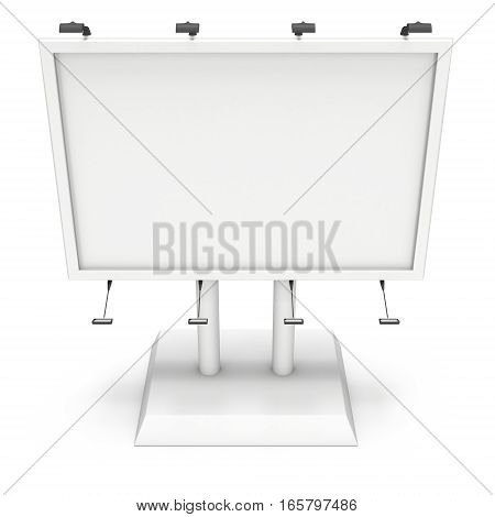 Billboard blank for outdoor advertising poster. Trade show booth. 3d render isolated on white background