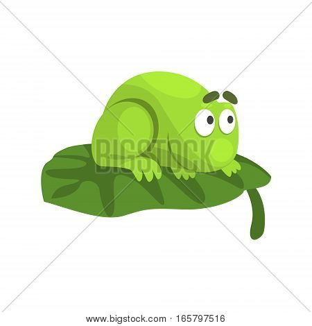 Shy Green Frog Funny Character Sitting On The Leaf Childish Cartoon Illustration. Flat Bright Color Isolated Funny Toad Life Situation Vector Sticker.