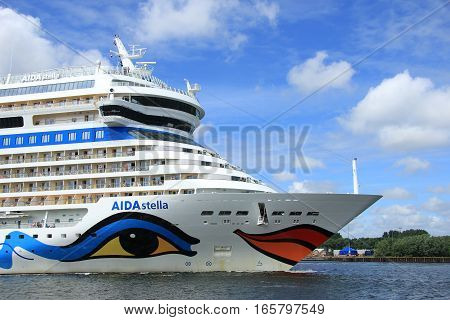 Velsen; the Netherlands June 22nd 2014 : Aida Stella on North Sea Canal on it's way to the Amsterdam Cruise Terminal