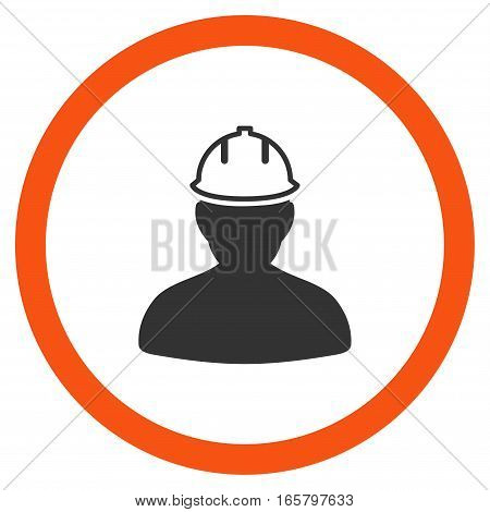 Person In Hardhat vector bicolor rounded icon. Image style is a flat icon symbol inside a circle, orange and gray colors, white background.