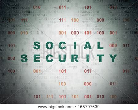 Security concept: Painted green text Social Security on Digital Data Paper background with Binary Code