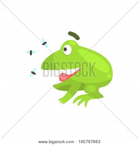 Happy Green Frog Funny Character Looking At Insects Childish Cartoon Illustration. Flat Bright Color Isolated Funny Toad Life Situation Vector Sticker.
