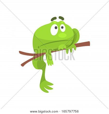 Sad Green Frog Funny Character Hanging From The Branch Childish Cartoon Illustration. Flat Bright Color Isolated Funny Toad Life Situation Vector Sticker.