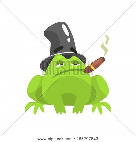 Green Frog Funny Character With Top Hat And Cuban Cigar Childish Cartoon Illustration. Flat Bright Color Isolated Funny Toad Life Situation Vector Sticker.